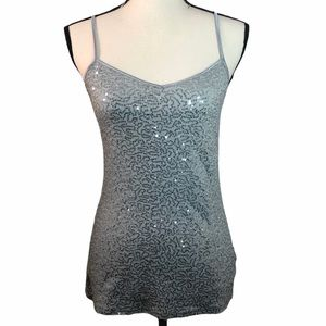 Express Sequin Sparkly Cami Tank Silver size Small